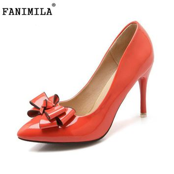 FANIMILA size 31-48 women thin high heel shoes pointed toe bowknot court footwear ladies party heeled pumps heels shoes PE00004