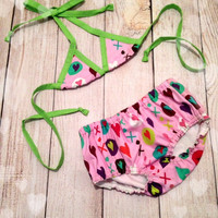 XOXO Bubblegum Pink and Lime Green Sun Suit/ Infant Bathing Suit/ Baby Swim Suit/ Girls