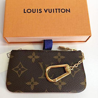 LV tide brand classic simple wild female zipper key case Coffee print