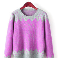 Zigzag Print Knitted Sweater