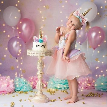 2018 Kids Summer Unicorn Dress for Girls Embroidery Flower Ball Gown Baby Girl Princess Dresses for Party Unicornio Costumes