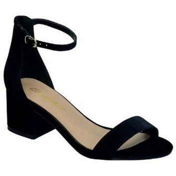 Trending Mid High Block Heel Sandal, Black