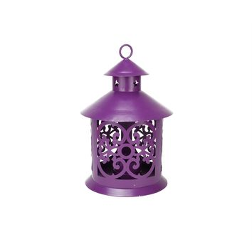 "8"" Shiny Purple Votive or Tealight Candle Holder Lantern with Star and Scroll Cutouts"
