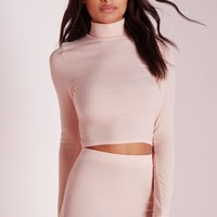 Missguided - High Neck Long Sleeve Ribbed Crop To Nude