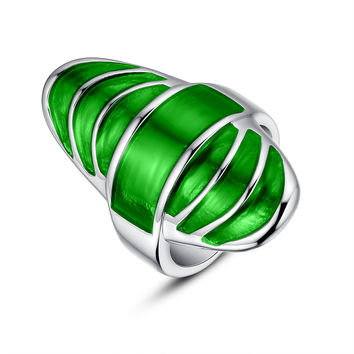 Stainless Steel Green Epoxy Cocktail Ring