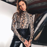 Women Fashion Snake Print Bodycon Turtleneck Long Sleeve T-shirt Bodysuit