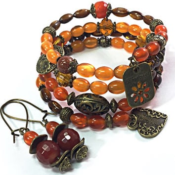 Orange Wrap Bracelet -Bronze Memory Wire Bracelet- Gypsy Jewelry- Earring Set- Button Bead Bracelet -Bohemian Earrings - Bracelet Set TDC521