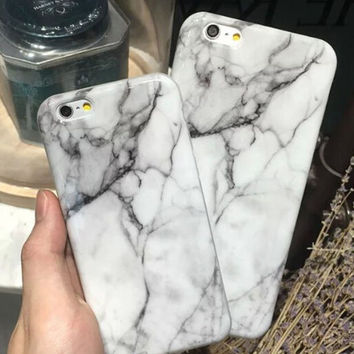 Unique White Marble Stone Case Cover for Apple iPhone 5s 5 SE 6 6S 6 Plus 6S Plus +Nice Gift Box DC080701