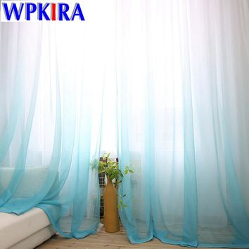 1PC American Europe Solid Sheer Blue Voile Gradient Curtains Tulle Fabric Grey Window Curtain Panels White Tulle Living Room 30