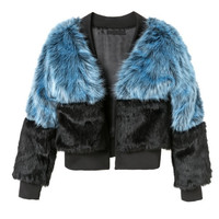 Black and Blue Faux Fur Jacket