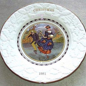 "Coalport China Christmas 1981 Sixth in annual series The Skaters 9 1/4"" diameter Plate reproduced from the original Pratt prints (ref: 3196)"
