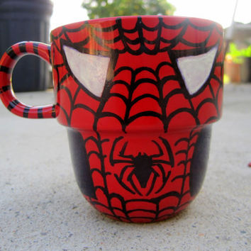 Hand Painted SpiderMan Stackable Mug by TheCornerGeekery on Etsy