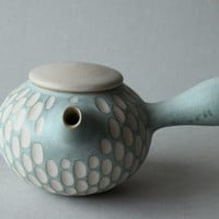 turquoise and white incised side-handled teapot/kyusu