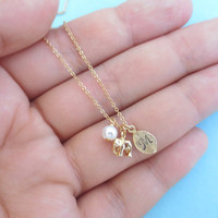 Initial, Elephant, Personalized, Elephant, Necklace, Gold/ Silver, Necklace, Elephant, Jewelry, Baby, Shower, Necklace, Gift, Necklace