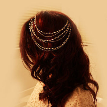 Bridal 3 tier Silver Chain / Pearl Hair Chain Comb, Wedding Hair Accessories, Bridal Hair Comb