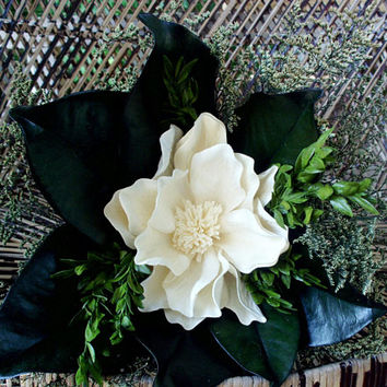 Magnolia bridal bouquet | sola bridal bouquet | rustic bridal bouquet | rustic wedding | preserved flower bouquet | Magnolia leaf | boxwood