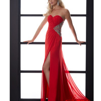 Red Beaded Geometric Prom Gown