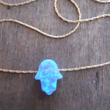 Opal Hamsa Necklace; Dainty Gold Filled Or Sterling Silver Necklace; Hamsa Necklace; Layering Necklace; Gold or Silver Hamsa Necklace