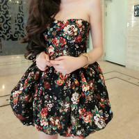 Sexy Floral Print Winter Dress Party Dress