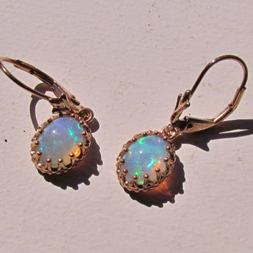 14k Rose Gold Opal Dangle Earrings Vintage Style October Birthstone Gemstone Jewelry