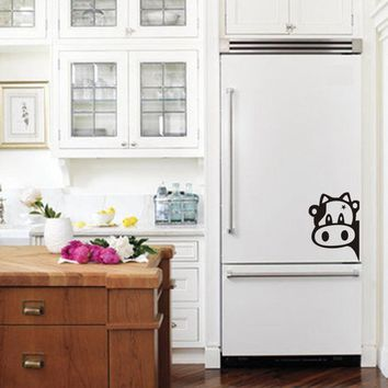 Funny Cow Kitchen Fridge Sticker , Vinyl Cow Decals  For Home Kitchen Refrigerator Wall Tiles Cabinets Decorations