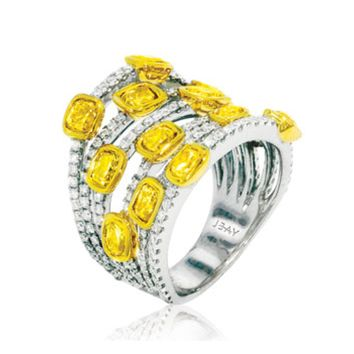 """White Gold and Diamond """"Bubble"""" Ring with Yellow Gold and Canary Diamond Accents"""