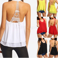 Scoop Sleeveless Backless Hollow Out Chiffon Lace Patchwork Blouse