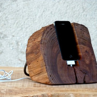 Wooden iPhone Docking Station. Rustic  iPhone by WoodRestart