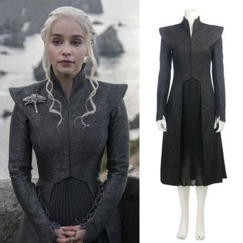 Daenerys Targaryen Costume Season 7 Games of Thrones Black Jacket Dress