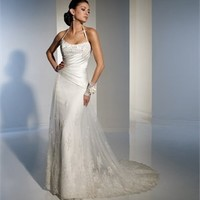 Halter Natural Waist Lace Applique Over Net With Stain Small Train Wedding Dress WD1345