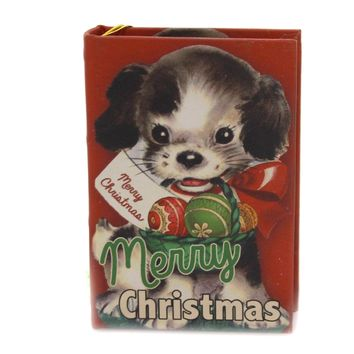 Holiday Ornaments FURRY FRIENDS RETRO BOOK ORN Wood Opens Lo8194 Dog