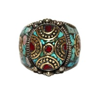 Vintage style turquoise Ring Coral Ring RI502