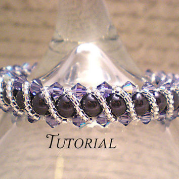 Tutorial PDF Right Angle Weave Swarovski Crystal and Pearl Bracelet with Twisting Seed Bead Overlay