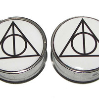 "Deathly Hallow Symbol Plugs - 1 Pair - Sizes 2g, 0g, 00g, 7/16"", 1/2"", 9/16"", 5/8"", 3/4"", 7/8"" & 1"""