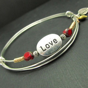 LoVE Bangle Bracelet, Adjustable Bangle, LoVE Charms Bracelet, Sterling Silver, Friendship  Bridesmaid, Mothers day Gift, Stacking Bangles