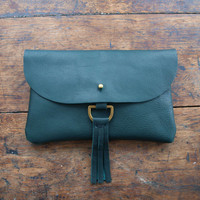 Traveler Clutch - Hunter Green Leather