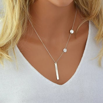 Custom Engraved Necklace, Personalized Necklace Silver, Engraved Disc Necklace, Personalized Initial Necklace, Vertical Bar Necklace