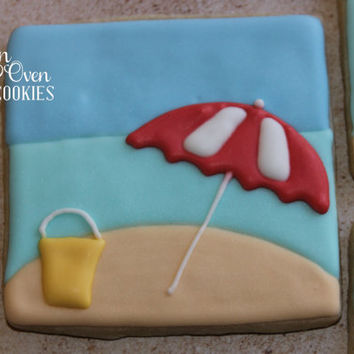 1 Doz Beach Scene Decorated Sugar Cookies / party favor / gift