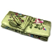 Jewelry Roll / Cosmetic Pouch Travel Bag Organizer - Oriental Floral Brocade