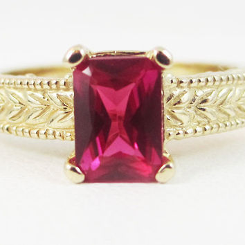 Ruby Detailed 14k Yellow Gold Emerald Cut Ring, Solid 14k Yellow Gold Ring, 14 Karat Gold Ring, July Birthstone Ring, Emerald Cut Ruby Ring