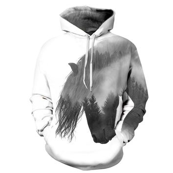 Skateboarding Hoodie men & women 3D Horse hoodie Lovers hooded pullover hooded sweater Hip-hop Streetball jacket Baseball coat