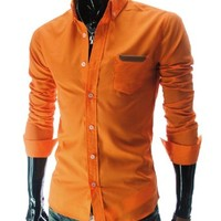 TheLees (AL348) Mens Casual Slim fit Vivid Color Leather Patched Long Sleeve Shirts Orange US XS(Tag size L)