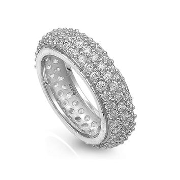 925 Sterling Silver CZ Eternity Pave Ring 25MM