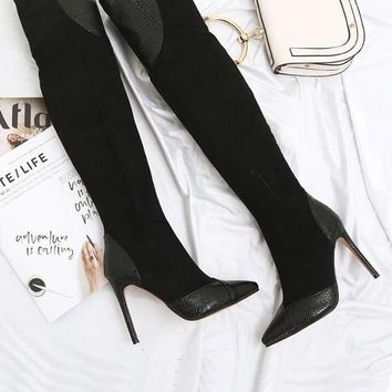 New Black Point Toe Stiletto Patchwork Fashion Over-The-Knee Boots