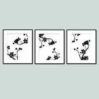 Botanical Nature Floral Trio - Set of Three Original 8x10 Coordinating Prints - Choose Your Colors - Shown in Black and White