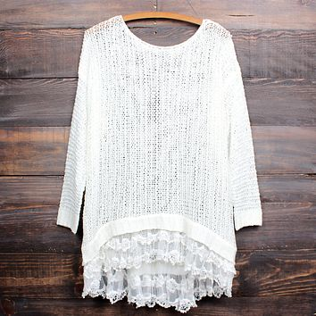 all eyes on me lace trim sweater tunic - more colors
