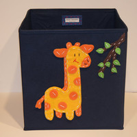 Kids Storage Bin, Toy Storage, Baby Room Decor, Blue, Giraffe