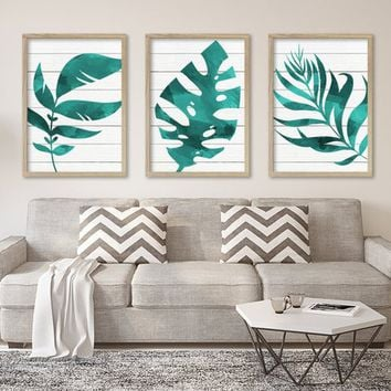 WATERCOLOR Banana Monstera LEAF Wall Art, Teal Watercolor Banana Leaf Living Room Art, Botanical Tropical Artwork, Set of 3 Canvas or Print