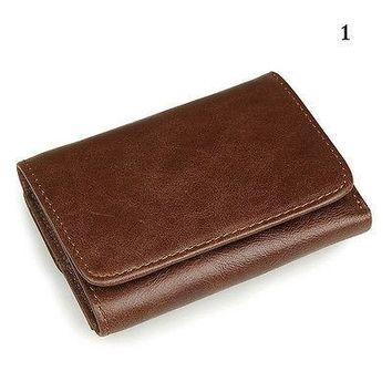 Mens RFID Blocking Leather Trifold Wallet Credit Card Holder Secure ID Window