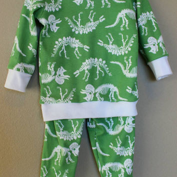 Baby or toddler boy pajamas, dinosaur pj's, pajama top and bottom set, toddler lounge wear, infant layette set, baby boy two piece outfit